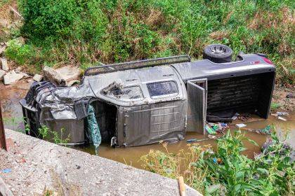 A vehicle landed in a 12-foot ditch after texting while driving.