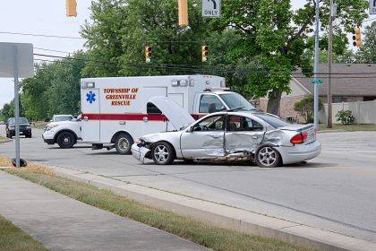 A driver was transported to Wayne HealthCare following a crash at the intersection of North Broadway and East Russ Road.