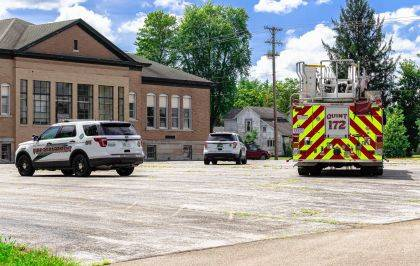 Greenville fire and police departments responded to a suspicious fire at the former North Middle School.