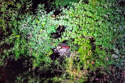 This car came to rest 30-yards from the Greenville Creek after traveling down a steep embankment.
