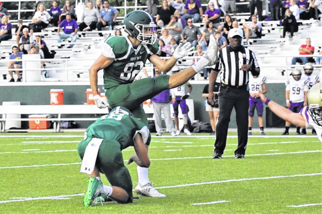 Ethan Flanery drills his first of two field goals to lead Greenville to a 2019 opening season football win over the Eaton Eagles.