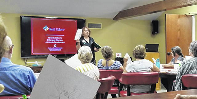 Bethany J. Royer-DeLong | Darke County Media Rhonda Williams, Extension Educator, for the Darke County Extension office, shares information on the Real Colors workshop during the Greenville Public Library Lunch and Learn on Wednesday.