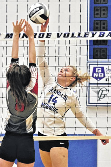 Chloe Peters gets a kill for the Franklin Monroe Lady Jets in CCC win over Tri-County North.