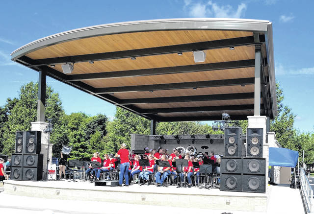 The Versailles High School Band was the first to perform in Heritage Park's new amphitheater during the Versailles Bicentennial celebration on Sept. 14.