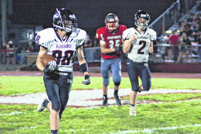 Cameron Shimp returns the opening kickoff to midfield for the Mississinawa Valley Blackhawks in win over the Panthers.