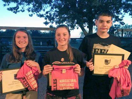 Emma Gasson, Sara Cavin and Zach Watren were named Versailles FFA September Members of the Month.