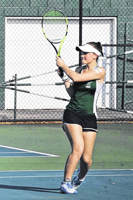 Natalie Milligan plays second singles for the Lady Wave 2019 varsity girls tennis team.