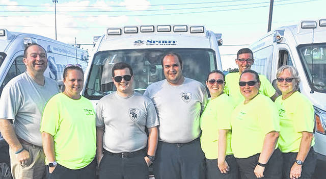 Spirit Medical Transport personnel who were among those deployed to the hurricane region included, from left to right, President/CEO Brian K. Hathaway, Amanda Patterson, Jacob Cain, Jeremy Miller, Erika Hohler, Michael Adkins, Julie Case, and Tracie Brown.