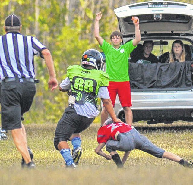 Greenville six-grader DeAndre 'Godzilla' Jones catches fourth quarter touchdown in Sunday's GYFL victory over Twin Valley South.