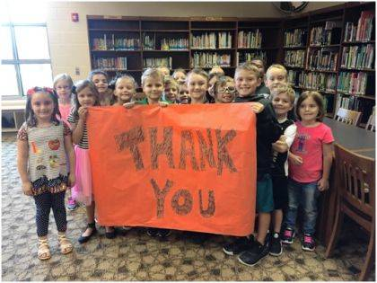 Students offered a thank you to the family of Marilyn J. Kuhn for their donation.