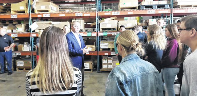 Bethany J. Royer-DeLong | Darke County Media Congressman Warren Davidson speaks to Greenville Senior High School sophomore students during Manufacturing Day at Ramco Electric Motors on Friday.