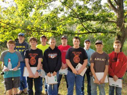 Arcanum MVCTC FFA Members competing in soil judging were Jacob Warren, Raymond Denniston, Cole Besesker, Landon Haney, Andrea Garrison, Isaac Smith, Ryan Delk, Blayne Hess, Cameron Daugherty, and Luke Brinksneader.