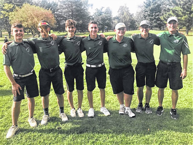The 2019 Greenville boys varsity golf team and Coach Brian Stickel.