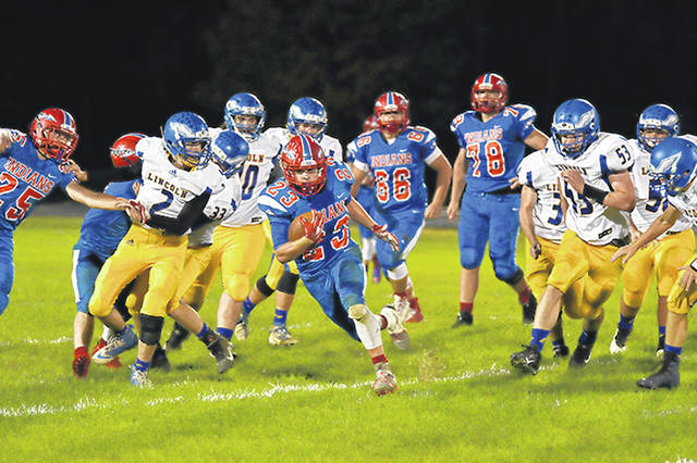 Union City gets positive yardage in Indians homecoming game.