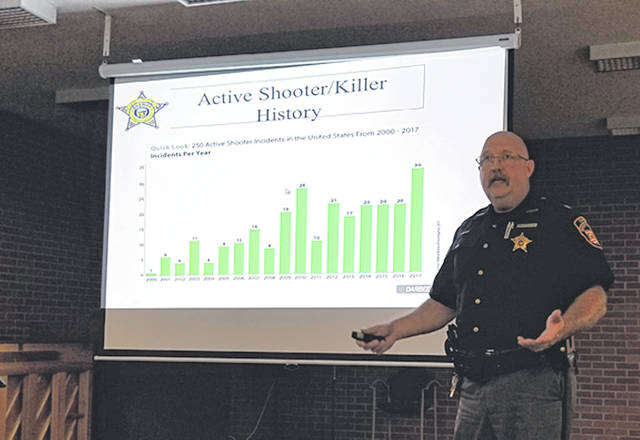 Chief Deputy Mark Whittaker, of the Darke County Sheriff's Office, gave a presentation titled Workplace Safety/Security and Active Shooter, for attendees of the monthly Darke County Safety Council Meeting last week at the Brethren Retirement Community.