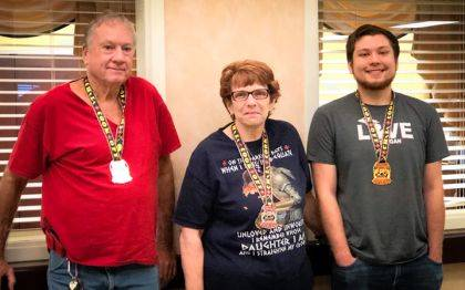 "<p class=""body"">GREENVILLE – The Village Green Healthcare Center held its Chili Cook-Off on Sept. 26. The winners are Mike Sanders third place; Toni Henninger pictured for her husband Brad Henninger, second place; and Zach Henninger won first place."