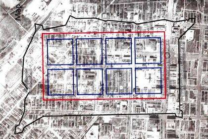 Shown is the outline of where Fort Greene Ville stood from 1793-97. The map depicts Anthony Wayne's headquarters in the present-day St. Mary's Catholic School playground.