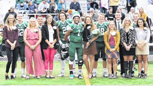 Green Wave homecoming queen Riley Hunt and Cheif Green Wave Marcus Wood with the 2019 Greenville homecoming court.