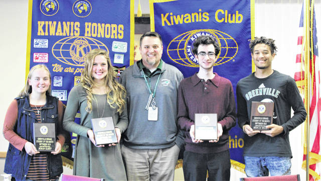 Greenville seniors recently chosen as Kiwanis Students of the Mnth include, left to right, Morgan Gilbert, Riley Hunt, GHS Principal Stan Hughes, Anthony Masso-Rivetti, and Marcus Wood.