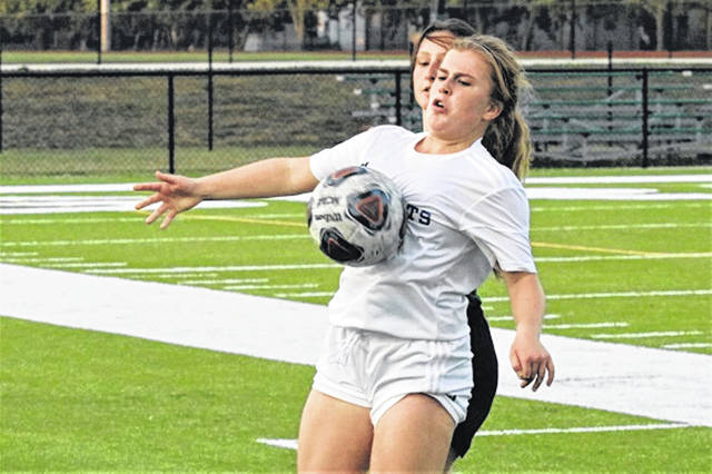 Maddie Stacy makes a stop for the Lady Jets in Monday night's soccer match at Greenville.