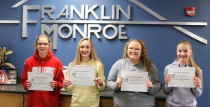 PITSBURG – Franklin Monroe Middle/High School congratulates the following students for being named Student of the Month for October: Lexi Kleismit, Olivia Sease, Hayeigh Spires, and Alaina Blackburn. The students received a coupon for Vint's Restaurant as well as some rewards at the school.