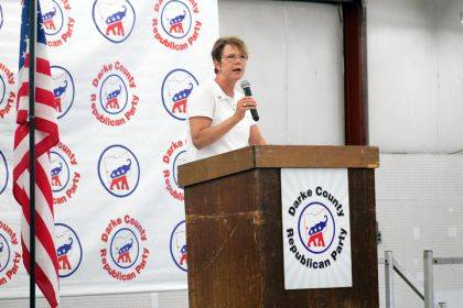 Justice Sharon Kennedy was the featured speaker at the 2019 Republican Hog Roast.