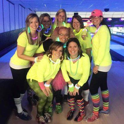 "Greenville Elementary PTA won the ""best dressed"" contest at United Way's Glow Hole 'n Bowl."