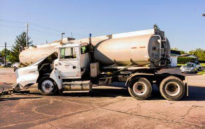 This semi-tractor and tanker jack-knifed after being hit by a Greenville Township ambulance.