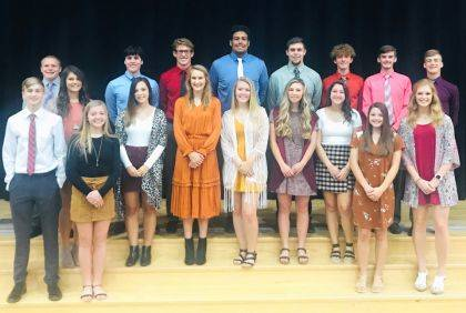 2019 homecoming court: (third row) Seniors Cory Ross, Carson Magnani, Austen Cutarelli, Jayden Heltsley, Grant Delk, J.T. Whittaker, Junior Nick Fry Sophomore Brennen Troutwine, (row 2) Seniors Camille Pohl, Ellie Kubik, Audrey Heiser, Audrey Ball, Gracie Garno, Madison Magnani, Sophomore Taylor Gray, (row 1) Freshmen: Garrett Garno, Reece Blinn, Junior Eva Siculan. The prince and princess will be Grant Pohlman and Catie Painting.