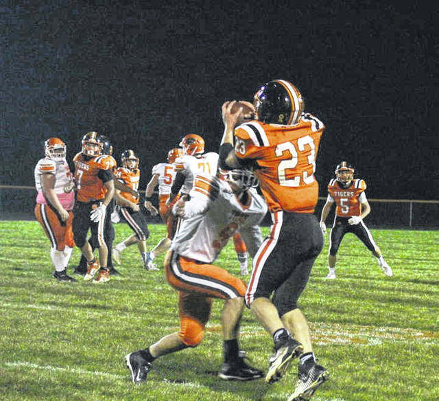 Senior Brock Shellhaas gained yards on a pass from Isaac Barga.