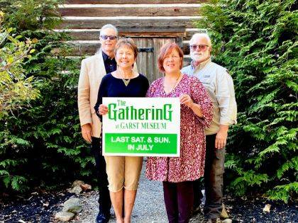 Shown are Jenny Clark, chairperson of Gathering at Garst; Deb Shiverdecker, chairperson of Living History Encampment; Dr. Clay Johnson, president of Garst Museum; and Roger VanFrank, director of Darke County Park District.