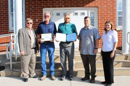 Present for the certificate presentation were Kenneth Haydu, meteorologist in-charge; Rob Haines, Greenville water plant; Gary Evans, II, Greenville water plant; James Gibson, observing program leader; and Ashley Novak, meteorologist.