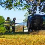 Propane leak reported after rollover