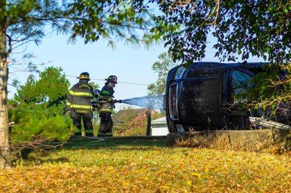 The driver of this Envoy damaged a propane tank, which prompted firefighters to cool the tank and help dissipate escaping gas.