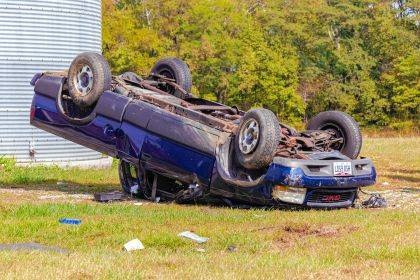 Travis Gregory lost control of his vehicle and ended upside down on Beamsville Union City Road.