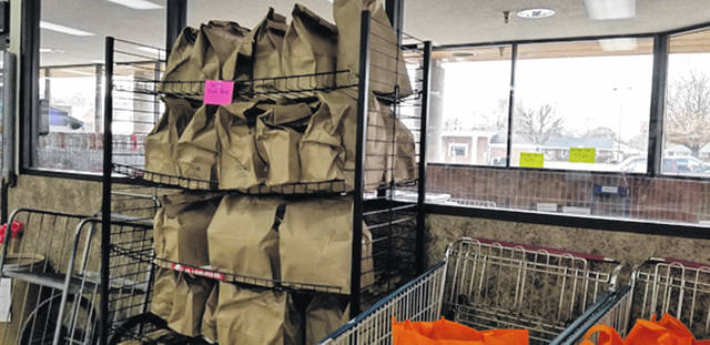 Sugar, flour, salt, brown sugar, and other items necessary for baking await pickup at Sutton's Foods thanks to Castine Area Food Bank.