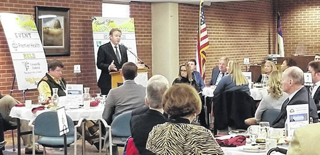 Bethany J. Royer-DeLong | Darke County Media The Darke County Chamber of Commerce State of the Nation Legislative luncheon was hosted by the Brethren Retirement Community with Ohio's 8th Congressional District Congressman Warren Davidson as guest speaker on Friday.