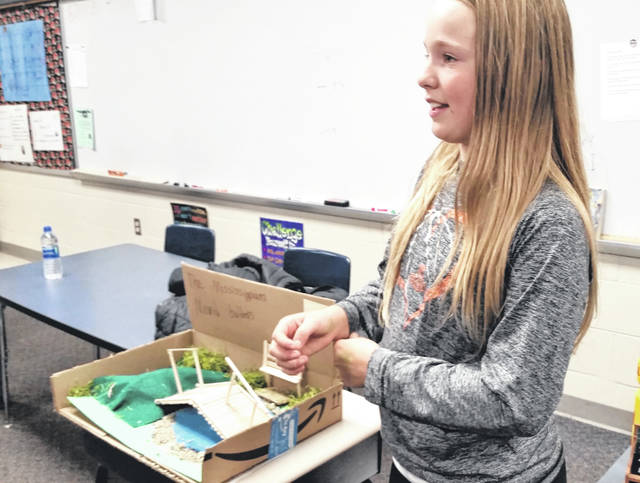 Vivian Harleman displays her Mississippian culture project during a recent fifth-grade ancient civilization museum project at Bradford elementary.