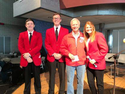 Shown are Parker Lenski (Culinary Arts/Miamisburg), Elijah Walters (Culinary Arts/Vandalia-Butler), Mr. Al Baily (Honor Flight), and Samantha Hartzell (Early Childhood Education/Arcanum-Butler).