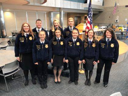MVCTC FFA chapter officers are shown with Ohio FFA State Reporter Mackenzie Hoog. Shown are (back row) Audra Burger, Ross Dapore, Peyton Ryan, Josiah Kirchhoffer, (front row) Katelyn Redick, Mackenzie Hoog, Brittany Ployer, Keara Knepshield, and Kristin Denlinger.