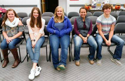 GREENVILLE – Darke County Farmers Union held its Fall Harvest meeting on Nov. 2, at the OSU Extension meeting room where they honored some of the 4-H Youth they supported during the livestock sales at the 2019 Great Darke County Fair. Pictured above are (seated) Gabrielle Wooten - swine, Faith Wooten - swine, Adi Schmitz - sheep, Emily Schmitz - sheep, and Ethan Fischer - sheep.