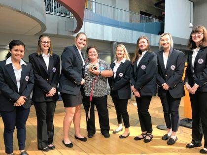 MVCTC HOSA junior officers are shown with Ms. Cristina Pickle, Community Blood Center education specialist.