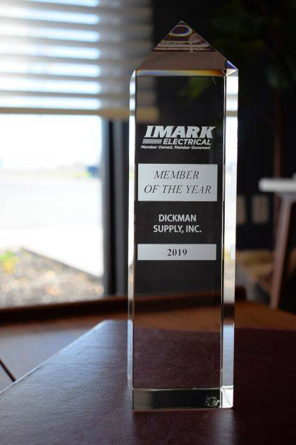 Shown is the award presented to Dickman Supply.