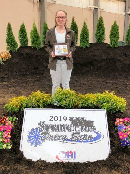 Carrie Rhoades finished third at Ohio FFA Dairy Handlers competition and eighth at the Big E national competition.