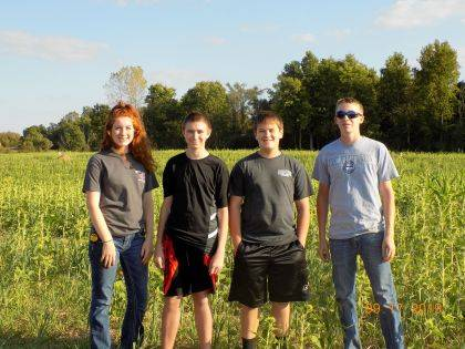 Students participating in the Darke County Soils Contest were (L to R): Emma Kunk, Ben Thorp, Devin McKenna, and Jacob Prasuhn.