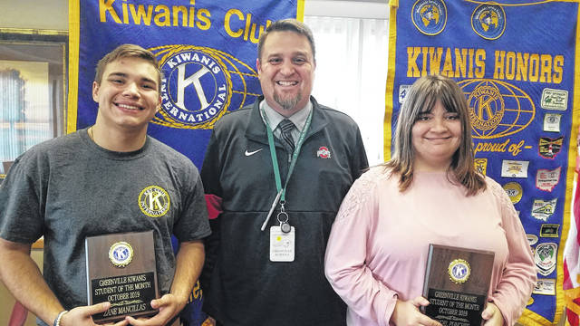 Kiwanis Students of the Mo nth are, seniors Zane Mancillas (left) and Angel Punches (right) with GHS Principal Stan Hughes (middle).