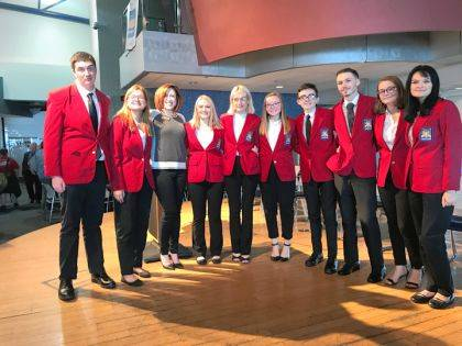 MVCTC SkillsUSA Chapter 2 officers are shown with Ohio SkillsUSA Director Jackie Walker.