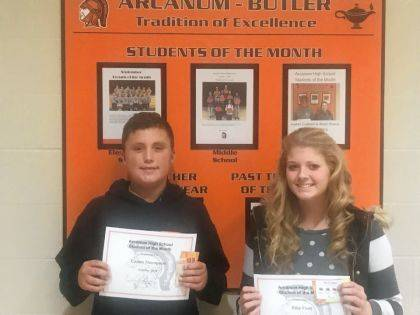 Caden Thompson and Ellie Fout were named Students of the Month for October.