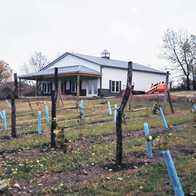 Courtesy photo Work continues on the near 2,000 square foot tasting and production facility for Twenty One Barrels Cidery and Winery on the outskirts of Bradford with an anticipated opening in June 2020.
