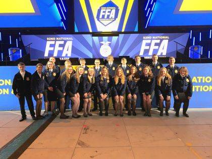 Members who attended the National FFA Convention were (back row) Isaac Gilmore, John Gehret, Dalton Hesson, Evan Groff, Kobe Epperly, Caleb Fraley, Sam Gilmore, Jacob Wuebker, Cole Luthman, (front row) Robert Lewis, Dakota Overholser, Laura Wuebker, Deanna Hesson, Sara Cavin, Darian Feltz, Cayla Batten, Emma Peters, Tori Wuebker, Haley Mangen, Cricket Petitjean, and Lucy Petitjean.
